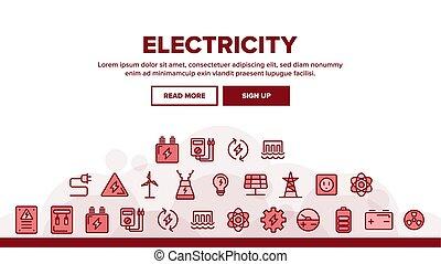 アイコン, 電気, コレクション, 産業, セット, ベクトル
