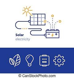 アイコン, 電気, 太陽, accumulator, エネルギー, 太陽, パネル