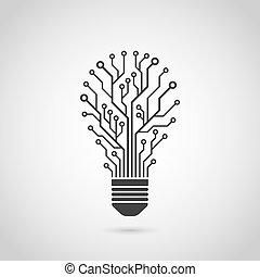 アイコン, 電球, ライト