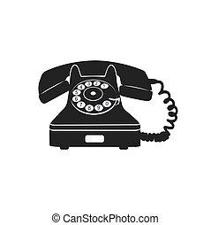 アイコン, 電話, ベクトル, 古い