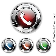 アイコン, 電話, ベクトル, illustra, ボタン