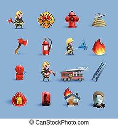 アイコン, 青, セット, 漫画, 赤, 消防士