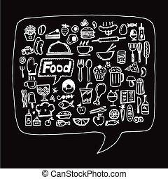 アイコン, 食物, イラスト, デザイン, freehand, 図画