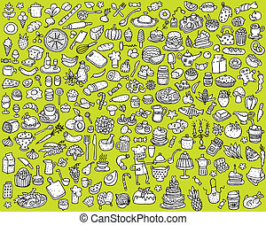 アイコン, 食物, 大きい, コレクション, 黒, 白, 台所