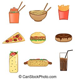 アイコン, 食物, 速い, シンボル, セット, ベクトル