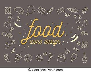 アイコン, 食物, set., ベクトル, デザイン, illustration.