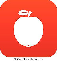 アイコン, 黒, アップル, 赤, デジタル
