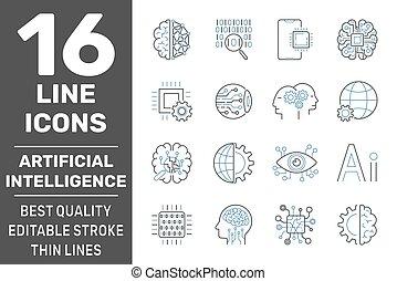 アイコン, 10, 知性, 線, set., stroke., eps, ベクトル, editable, 人工