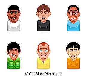 アイコン, avatar, イラスト, 人々