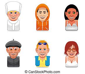 アイコン, avatar, 人々