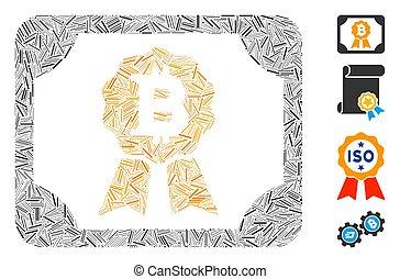 アイコン, bitcoin, ベクトル, ハッチ, モザイク, 卒業証書
