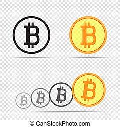 アイコン, bitcoin, 背景, 透明