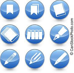 アイコン, bl, ペン, ベクトル, 本, bookmarks