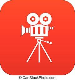 アイコン, camcorder, 赤, デジタル
