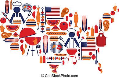 アイコン, celebration;, 旗, 第4, バーベキュー, 7月