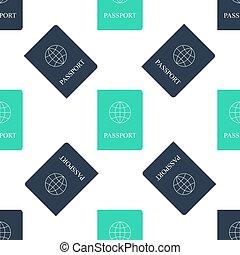 アイコン, document., 隔離された, バックグラウンド。, パスポート, 緑, 同一証明, 白, パターン, ベクトル, seamless, バイオメトリック, データ