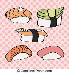 アイコン, drawing., いたずら書き, set., 寿司, 日本語, コレクション, 食品。, hand-...