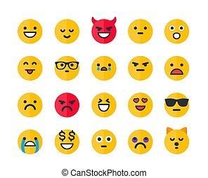 アイコン, emoticons, セット, ベクトル, emoji