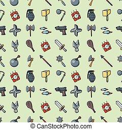 アイコン, eps10, セット, 武器