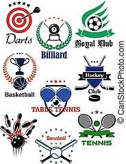 アイコン, heraldic, 紋章, デザイン, ゲーム, スポーツ