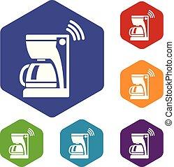アイコン, hexahedron, ベクトル, コーヒーメーカー