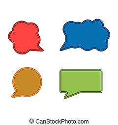アイコン, icon., セット, チャット, カラフルである