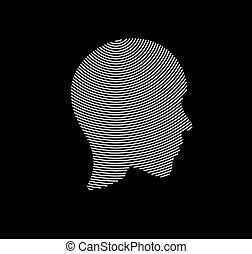 アイコン, illustration., ライン, 人, ベクトル, 顔