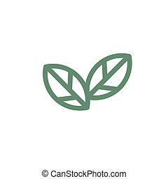 アイコン, leaves., 葉, バックグラウンド。, 株, 緑, eco, 白, 対, イラスト, ベクトル, icon., 隔離された