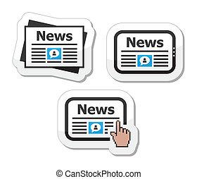 アイコン, newpaper, セット, ニュース, タブレット