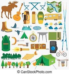 アイコン, outdoors., ハイキング, セット, キャンプ