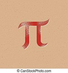 アイコン, pi, -, halftone, ギリシャ語