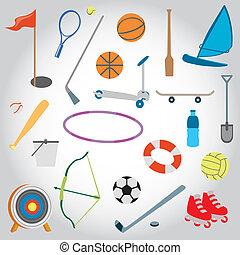 アイコン, set., おもちゃ, 浜, スポーツ