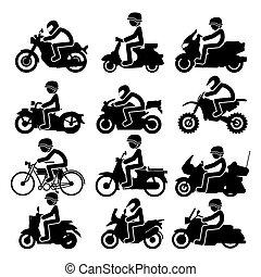 アイコン, set., イラスト, ベクトル, オートバイ乗り手
