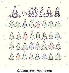 アイコン, set., 木, イラスト, ベクトル, クリスマス
