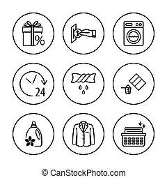 アイコン, set., 洗濯物, 洗いなさい, 心配, 衣類, 普遍的