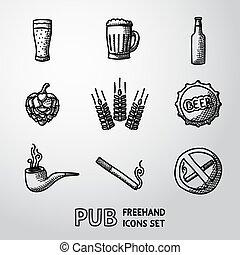 アイコン, set., pub, ビール, ベクトル, handdrawn