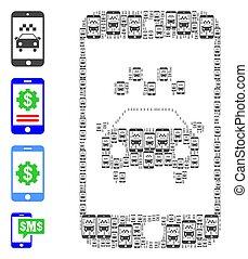 アイコン, smartphone, モザイク, recursion, 適用, タクシー, 自己