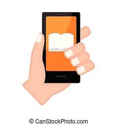 アイコン, smartphone, 保有物, ノート, 手