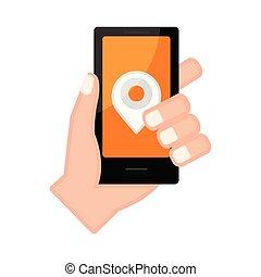 アイコン, smartphone, 保有物, ピン, 手