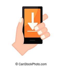 アイコン, smartphone, 保有物, 矢, 手