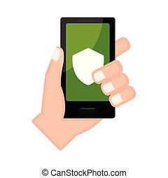 アイコン, smartphone, 保護, 手を持つ