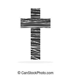 アイコン, vector., -, キリスト教徒, 交差点