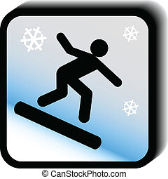 アイコン, vector-skateboard, 冬