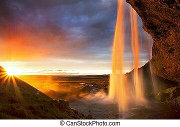 アイスランド, 滝, 日没, seljalandfoss