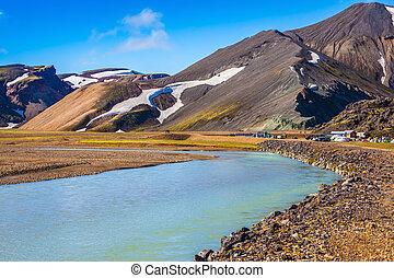 アイスランド, 谷, 公園, landmannalaugar, 絵のよう