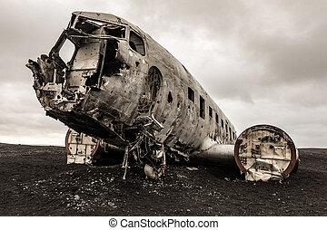 アイスランド, 飛行機, 大破
