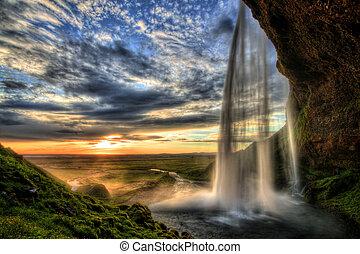 アイスランド, hdr, 滝, 日没, seljalandfoss