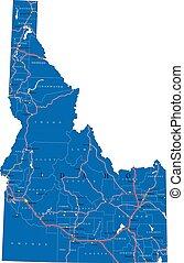 アイダホ, 政治的である, 地図, 州