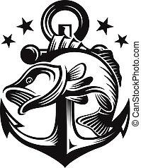 アイデンティティー, ブランド, テンプレート, 会社, ロゴ, 釣り