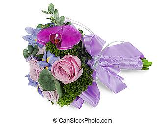 アイリス, 花, ばら, カラフルである, 花束, 隔離された, 花嫁, 背景, 結婚式, orhid, 白